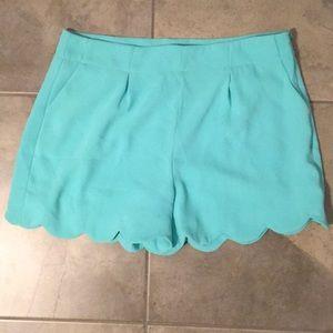 Mittoshop pocket, aqua scallop shorts, Large